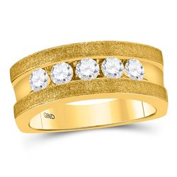 Mens Diamond Single Row 5-Stone Wedding Band Ring 1/2 Cttw 10k Yellow Gold