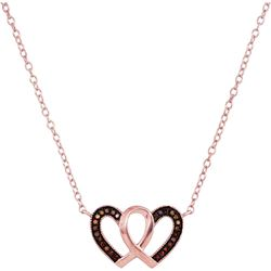 Round Red Color Enhanced Diamond Heart Necklace Pendant 1/10 Cttw 10kt Rose Gold