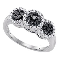 Round Black Color Enhanced Diamond Triple Cluster Ring 1/3 Cttw 10kt White Gold