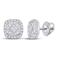 Diamond Cushion Cluster Earrings 1/2 Cttw 14kt White Gold
