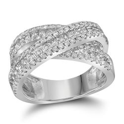 Round Pave-set Diamond Crossover Cocktail Band 2-1/3 Cttw 14kt White Gold