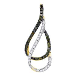 Round Green Color Enhanced Diamond Double Teardrop Pendant 1/5 Cttw 10kt Yellow Gold
