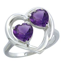 2.60 CTW Amethyst Ring 14K White Gold - REF-33H9M