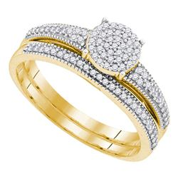 Diamond Cluster Bridal Wedding Engagement Ring Band Set 1/4 Cttw 10k Yellow Gold