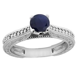 0.75 CTW Blue Sapphire & Diamond Ring 14K White Gold - REF-63M9K