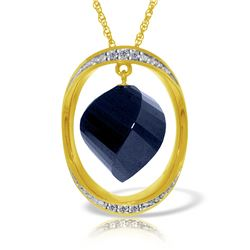 Genuine 15.35 ctw Sapphire & Diamond Necklace 14KT Yellow Gold - REF-124F2Z