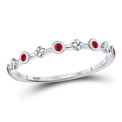Round Ruby Dot Flower Stackable Band Ring 1/12 Cttw 10kt White Gold