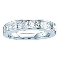 Channel-set Diamond Single Row Wedding Band 1/2 Cttw  14kt White Gold