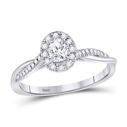 Oval Diamond Solitaire Bridal Wedding Engagement Ring 1/3 Cttw 14kt White Gold