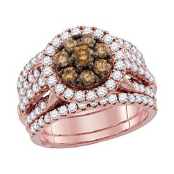 Round Brown Diamond Cluster 3-Piece Bridal Wedding Engagement Ring Band Set 2.00 Cttw 14kt Rose Gold