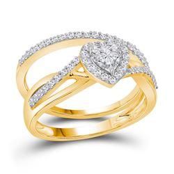 Heart Diamond Bridal Wedding Engagement Ring Band Set 7/8 Cttw 14kt Yellow Gold