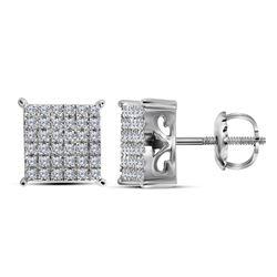 Diamond Square Cluster Screwback Earrings 1/2 Cttw 10kt White Gold