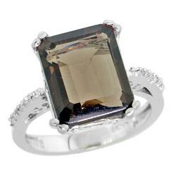 5.52 CTW Quartz & Diamond Ring 10K White Gold - REF-43R9H