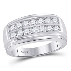 Mens Diamond Double Row Band Ring 1.00 Cttw 14kt White Gold