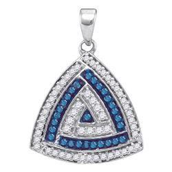 Round Blue Color Enhanced Diamond Triangle Pendant 1/3 Cttw 10kt White Gold