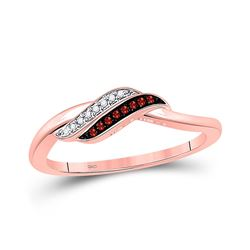 Round Red Color Enhanced Diamond Slender Crossover Ring 1/20 Cttw 10kt Rose Gold