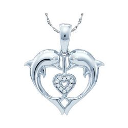 Diamond Double Dolphin Heart Pendant .03 Cttw 10kt White Gold