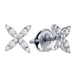 Diamond X Stud Earrings 1/4 Cttw 14kt White Gold
