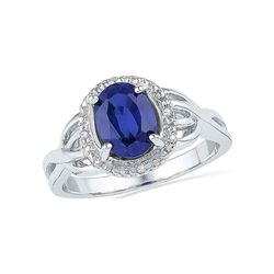 Oval Lab-Created Blue Sapphire Solitaire Diamond Ring .02 Cttw 10kt White Gold