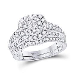 Diamond Bridal Wedding Engagement Ring Band Set 1.00 Cttw 14kt White Gold