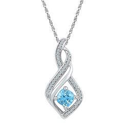 Round Blue Topaz Solitaire Diamond Pendant 3/4 Cttw 10kt White Gold