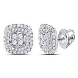 Diamond Cushion Cluster Earrings 1/2 Cttw 14kt White Gold