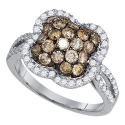 Round Brown Diamond Quatrefoil Cluster Ring 1-1/2 Cttw 10kt White Gold