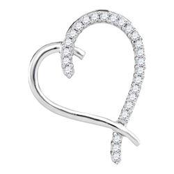 Diamond Segmented Heart Outline Pendant 1/6 Cttw 10kt White Gold