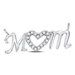 Diamond Mom Mother Heart Pendant 1/10 Cttw 10kt White Gold