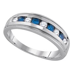 Round Blue Color Enhanced Diamond Wedding Anniversary Band Ring 1/2 Cttw 10kt Yellow Gold