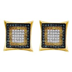 Mens Yellow Blue Color Enhanced Diamond Square Cluster Earrings 1/3 Cttw 10kt Yellow Gold