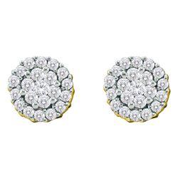 Diamond Flower Cluster Screwback Earrings 3/4 Cttw 14kt Yellow Gold