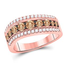 Round Brown Diamond Contoured Band Ring 1.00 Cttw 10kt Rose Gold
