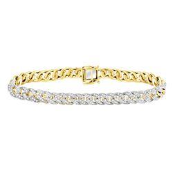 Mens Diamond Cuban Link Choker Bracelet 2-5/8 Cttw 10kt Yellow Gold