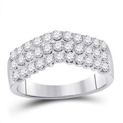 Diamond Triple Row Chevron Band Ring 1.00 Cttw 14kt White Gold