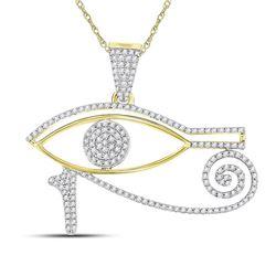 Mens Diamond Eye of Horus Charm Pendant 1/2 Cttw 10kt Yellow Gold