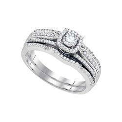 Diamond Bridal Wedding Engagement Ring Band Set 3/8 Cttw 10k White Gold