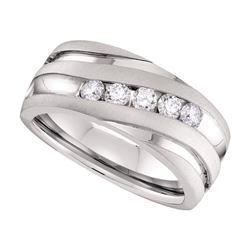 Mens Diamond Diagonal Wedding Band Ring 1/2 Cttw 10kt White Gold
