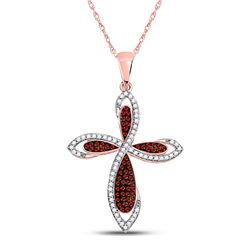 Round Red Color Enhanced Diamond Cross Faith Pendant 1/3 Cttw 10kt Rose Gold