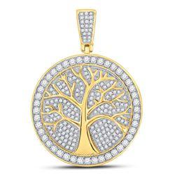 Mens Diamond Tree of Life Medallion Charm Pendant 1-1/4 Cttw 10kt Yellow Gold