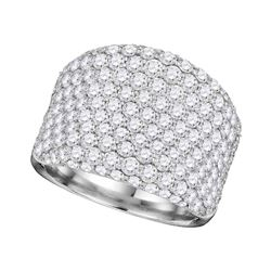 Round Pave-set Diamond Wide Fashion Band Ring 3-7/8 Cttw 14kt White Gold