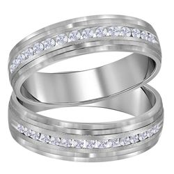 His & Hers Diamond Band Matching Wedding Band Set 1/3 Cttw 14kt White Gold