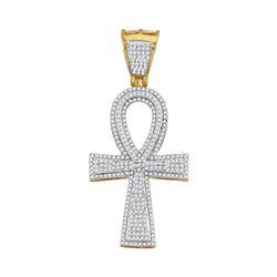 Mens Diamond Ankh Flared Cross Charm Pendant 1.00 Cttw 10kt Yellow Gold