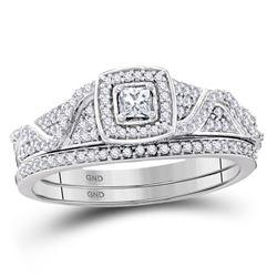 Diamond Bridal Wedding Engagement Ring Band Set 3/8 Cttw 10kt White Gold