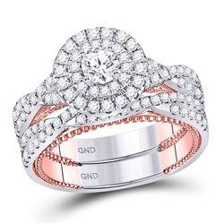 Diamond Bridal Wedding Engagement Ring Band Set 1-3/8 Cttw 14kt Two-tone Gold