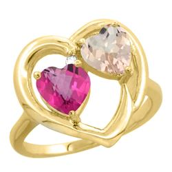 1.91 CTW Diamond, Pink Topaz & Morganite Ring 14K Yellow Gold - REF-36K6W
