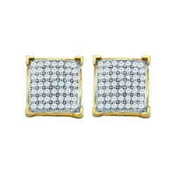 Diamond Square Cluster Earrings 1/6 Cttw 10kt Yellow Gold