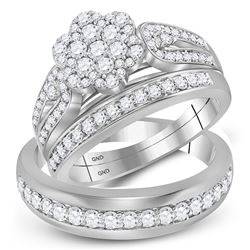 His & Hers Diamond Cluster Matching Bridal Wedding Ring Band Set 1-1/3 Cttw 10kt White Gold