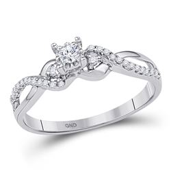 Diamond Solitaire Crossover Promise Bridal Ring 1/4 Cttw 10kt White Gold