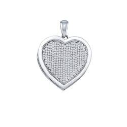 Diamond Heart Cluster Pendant 3/4 Cttw 10kt White Gold
